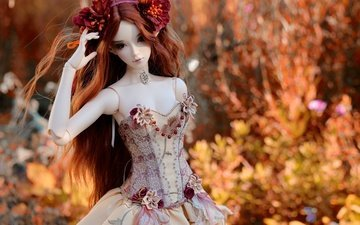 flowers, nature, decoration, dress, toy, doll