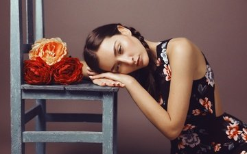 flowers, chair, model, face, stay, braids