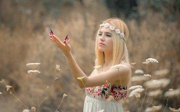 цветы, трава, природа, девушка, платье, блондинка, лето, ромашки, бабочки, венок