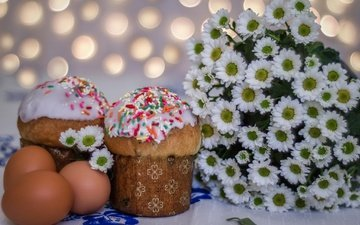 flowers, spring, easter, eggs, chrysanthemum, cake