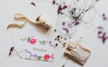 цветы, веточка, поздравление, лента, открытка