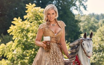 girl, dress, blonde, outfit, beer, germany, tradition, kathie kern, frau