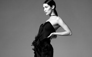 girl, pose, black and white, model, profile, bella hadid
