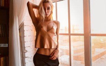 девушка, фото, взгляд, модель, грудь, фигура, позирует