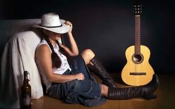 girl, guitar, bottle, hat, boots, braids