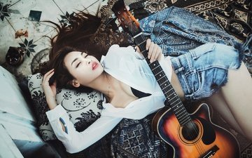 girl, mood, guitar, music, look, asian