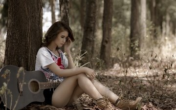 trees, girl, mood, guitar, look, asian