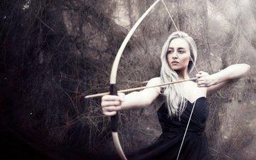 girl, blonde, look, bow, hair, arrow, black dress