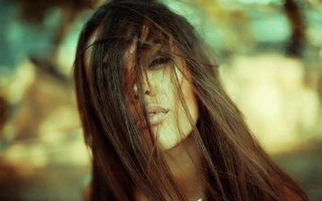 девушка, макро, портрет, брюнетка, взгляд, модель, волосы, лицо, секси, губки, пирсинг, шатенка, длинные волосы, natali danish