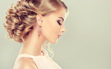 девушка, модель, профиль, волосы, лицо, прическа, сёрьги, ресницы