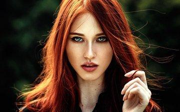девушка, портрет, взгляд, волосы, лицо, рыжеволосая, георгий чернядьев, лия мейер