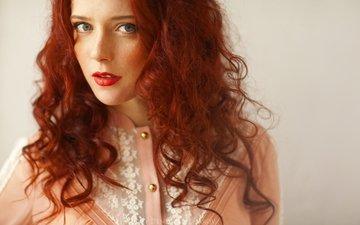 девушка, портрет, взгляд, красные губы, рыжеволосая, рыжие волосы, denis goncharov