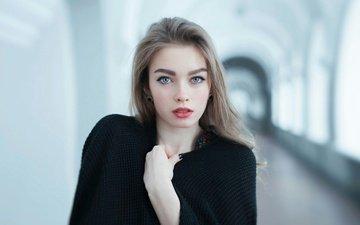 девушка, портрет, взгляд, модель, лицо, макияж, накидка, голубоглазая, длинноволосая, богдана шостак
