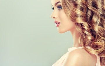 девушка, портрет, взгляд, модель, профиль, лицо, макияж, ресницы