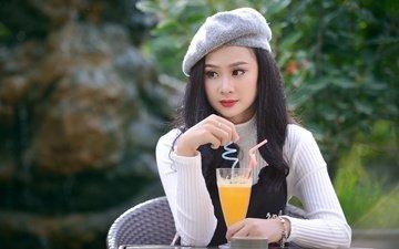 девушка, настроение, взгляд, сидит, коктейль, азиатка, столик, сок