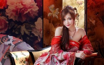 стиль, девушка, настроение, взгляд, кимоно, азиатка