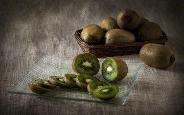 фрукты, дольки, киви, нарезка