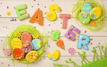 letters, board, holidays, easter, eggs, cookies, glaze, socket
