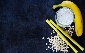 еда, завтрак, стакан, банан, йогурт, овсянка