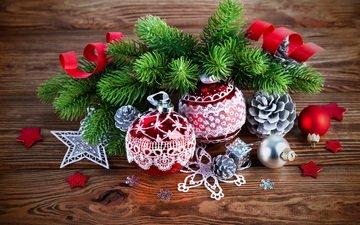 елка, шары, украшения, ветки, рождество, новый, год