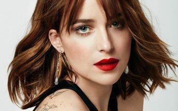 фон, портрет, модель, тату, актриса, макияж, прическа, крупный план, красотка, сёрьги, фотосессия, шатенка, дакота джонсон