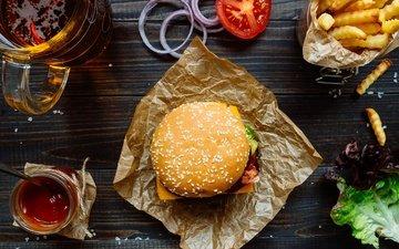 гамбургер, лук, котлета, помидор, соус, салат, булочка, сэндвич, фастфуд, картошка фри