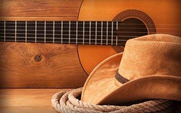 гитара, веревка, шляпа, ковбой, ковбойская шляпа