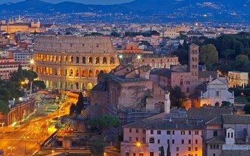 горы, пейзаж, панорама, дома, италия, колизей, рим