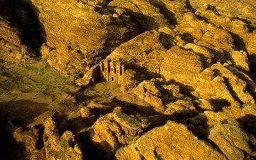 горы, скалы, храм, петра, иордания