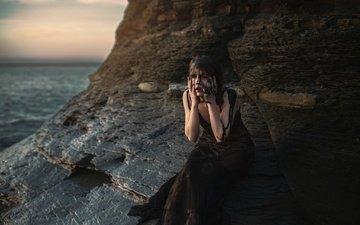 скалы, грязь, берег, девушка, море, платье, камень, aleah michele