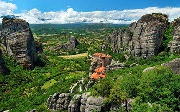 небо, облака, горы, скалы, зелень, кусты, греция, монастыри метеоры, rousanou, monastery