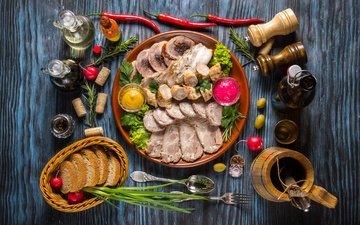 хлеб, мясо, колбаса, соус, специи, ассорти, бекон, нарезка