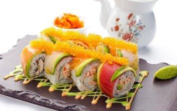 икра, рис, суши, роллы, авокадо, морепродукты