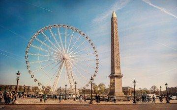 люди, колесо обозрения, город, париж, франция, обелиск