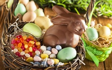 candy, basket, rabbit, easter, eggs, chocolate