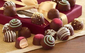 конфеты, шоколад, коробка, сладкое, бантик, ассорти