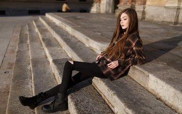 лестница, ступеньки, девушка, настроение, очки, улица, рубашка, ботинки, шатенка, карина козырева