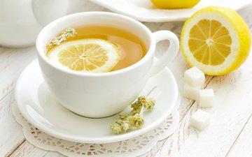 лимон, кружка, блюдце, чай, сахар