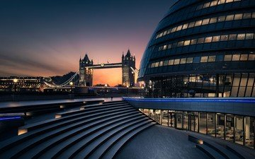 night, london, england, tower bridge, towerbridge, city hall, otto berkeley