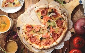 лук, сыр, колбаса, помидоры, пицца, начинка