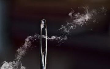 макро, дым, чёрно-белое, иголка, ушко