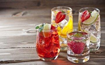 мята, фрукты, клубника, лёд, ягоды, лайм, напитки, коктейли, стаканы, алкоголь