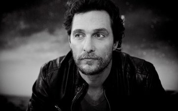 black and white, actor, matthew mcconaughey
