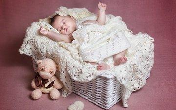сон, дети, мишка, игрушка, корзина, ребенок, малыш, младенец