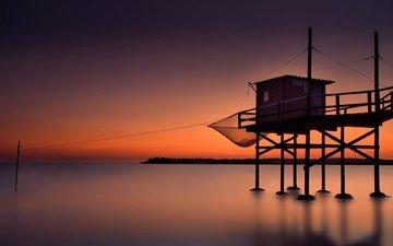 море, пирс, причал, домик, зарево, лодочный домик