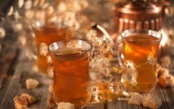 напиток, ромашка, чай, сахар