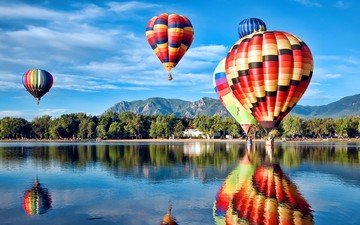 the sky, trees, lake, mountains, reflection, usa, balloons, colorado