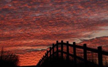 небо, облака, берег, море, забор