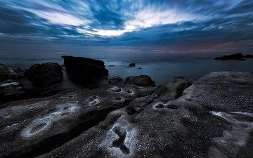небо, облака, ночь, камни, берег, море