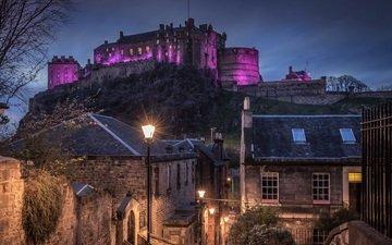 ночь, фонари, город, дома, шотландия, замки, эдинбургский замок